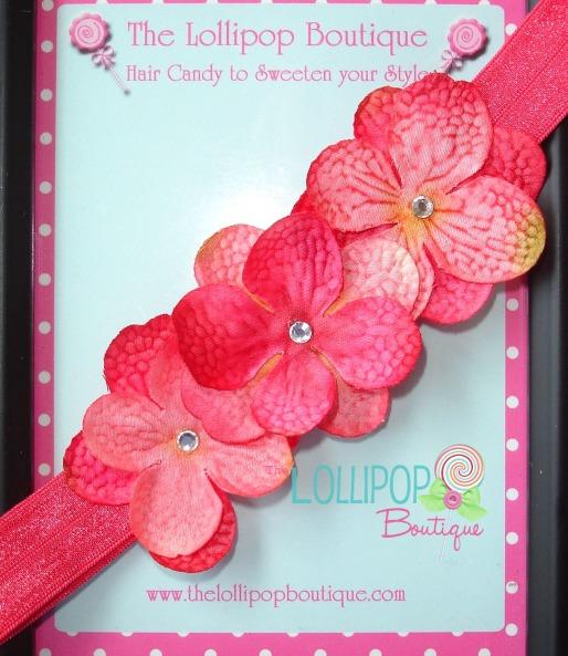 Hot Pink Hydrangea Elastic Headband