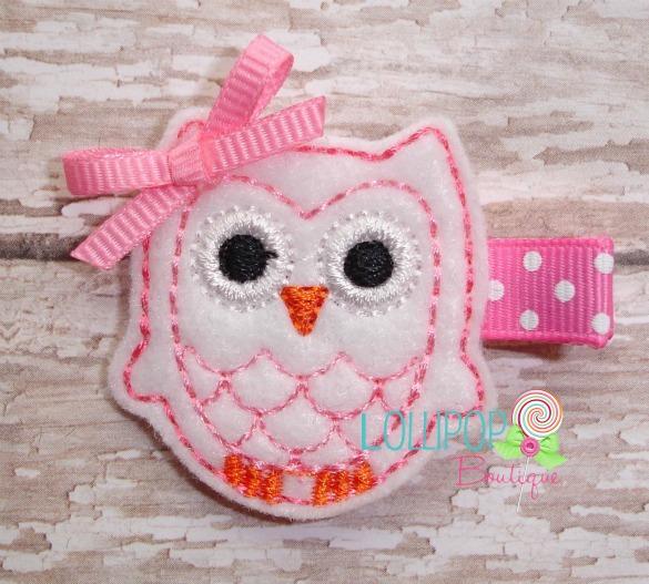 White Owl Felt Hair Clip