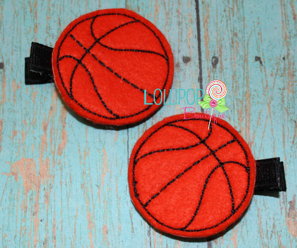 Basketball Felt Hair Clips