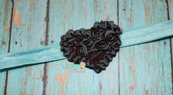 Brown Heart Mesh Elastic Headband