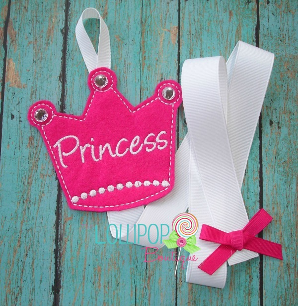 Fushia Princess Crown Felt Bow Holder