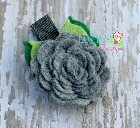 Gray Felt Rose Hair Clip