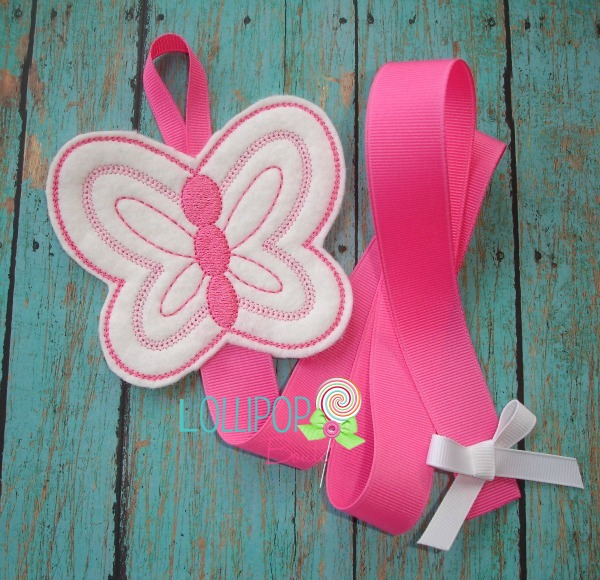 Hot Pink Felt Butterfly Bow Holder