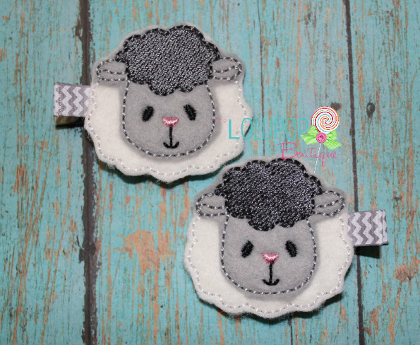 Little Lamb Felt Hair Clips