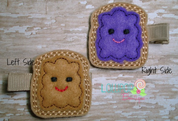 Peanut Butter and Jelly Felt Hair Clip Set