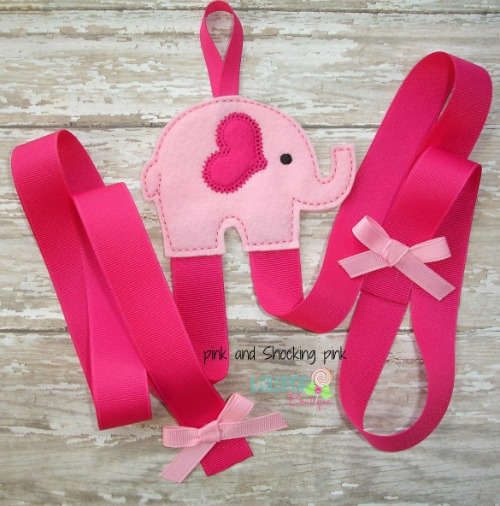 Pink Elephant Felt Bow Holder