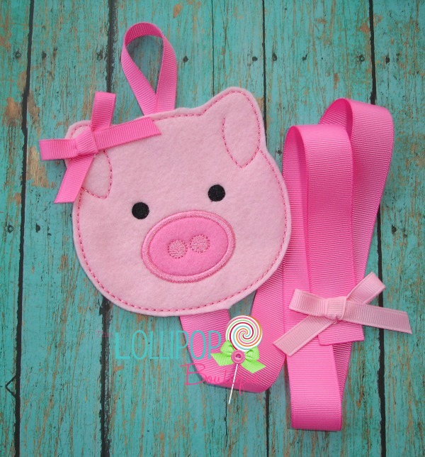 Pink Pig Felt Bow Holder