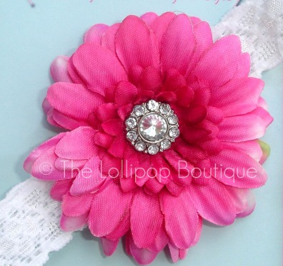 Fushia/Hot Pink Rhinestone Daisy Lace Headand