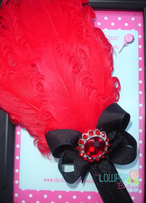 Red Feather with Black Bow Headband
