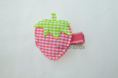 Pink Gigham Strawberry Hair Clip