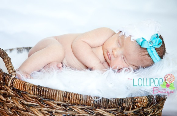 White Feather w/Turquoise Bow Elastic Headband