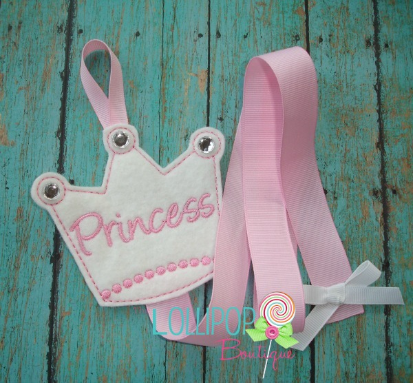 White Princess Crown Felt Bow Holder